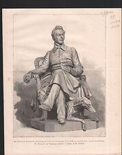 STATUE LAMARTINE  PAR MARQUET DE VASSELOT SCULPTEUR 1886 GRAVURE ANTIQUE PRINT