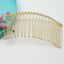 5Pcs 75X37mm Wholesale Metal Hair Clips Side Combs Pin Gold Barrettes Craft DIY