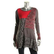 Style & Co. 6141 Womens Red Knit Patchwork Marled Tunic Sweater Top M BHFO