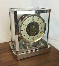 Vtg Glass MasterCrafters Clock Art Deco Mid Century Mod Brass Chrome Atmos style