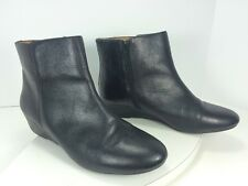 Nine West Black Leather Wedge Ankle Boots Booties Metalina Size 10