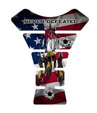 USA Never Defeated 2 Flag Gel Motorcycle Tank pad gaurd tankpad protector