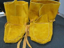 NATIVE AMERICAN TANNED HIDE WRAPS, MUKLUKS, 10 1/2 INCHES LONG SIZE 10 TOASTY