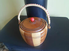 Vintage Stylish Retro Shabby Chic 2 Tone Wood Biscuit Barrel+Rafia Handle+Liner
