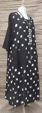 LAGENLOOK*BELLA BLUE*LINEN/COTTON MIX BEAUTIFUL FANTASTIC LONG DRESS*BLACK* L-XL