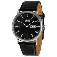 Citizen Men's BM8240-03E Eco-Drive Stainless Steel Black Leather Strap Watch