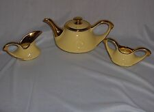 Vintage 4 Pc Pearl China Co Yellow 22 K Gold Handled Tea Set