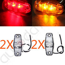 (4) LED Light 2 Diode Red+Amber Clearance Side Marker Trailer Light Clear Lens