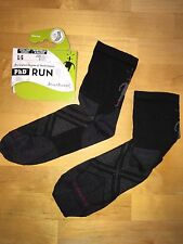 SmartWool PhD V2 RUN 3/4 Crew Socks –Black, Ultralight Bike Cycle – Men/Women LG