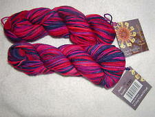 2 SKEINS - Mirasol Hacho - 100% Hand Dyed Merino Wool. #309 - BERRIES. 274 yards