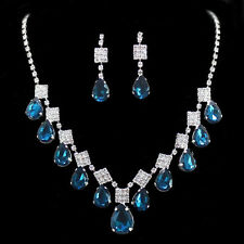 Xmas Bridal Blue Pear Swarovski Crystal Elements Clip on Earrings Necklace Sets