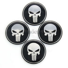 4x 65mm Punisher Tire Wheel Center Cap Tire Hub Emblem Cover Skull Decor Sticker