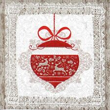 4 Single Lunch Party Paper Napkins for Decoupage Decopatch Christmas Bauble Lace