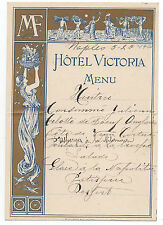 1900 Menu from the Hotel Victoria Naples Italy with Art Nouveau Graphics