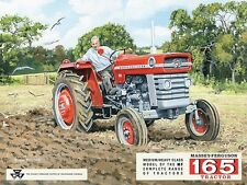 Massey - Ferguson 165 tractor. Red. Farmer ploughing field Large Metal/Tin Sign