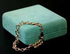 GORGEOUS SOLID 14K YELLOW ETERNA GOLD PERU TRIPLE LINKS CHARM BRACELET with BOX