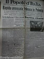 IL POPOLO D ITALIA 3 settembre 1939 Avanzata tedesca in Polonia Chamberlain WWII