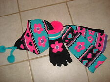 JUMPING BEASN $38 GIRLS SET HAT/GLOVE/SKARF SIZE M(8)  NWT