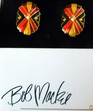 VINTAGE BOB MACKIE ENAMEL GOLD TONE CLIP EARRINGS RED YELLOW BLACK AND PINK