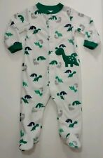 Carters Baby Boy 6-9m Snap Up Footed pjs Dinosaur Green & White Outfit