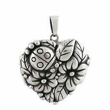 Ladybug Flower Locket - 925 Sterling Silver - Heart Photo Keepsake Family NEW