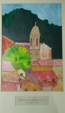 1961 French Riviera Clocher S  Gerome-Villefranche Sur Mer Watercolor/ Wenneman