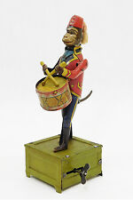 ANTIQUE DISTLER MONKEY DRUMMER GERMAN TIN WIND UP TOY LITHO DRUMMING CLOCKWORK