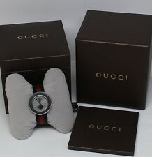 New! Gucci Women's U-Play Grey GG Dial Tri-Color Nylon Strap Watch YA129444