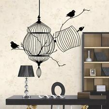 3D Black Bird Cage Tree Branch Wall Sticker Decal Vinyl Art Home Decor