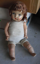 """Vintage 1940s Composition Cloth Baby Girl Character Doll 19"""" Tall"""