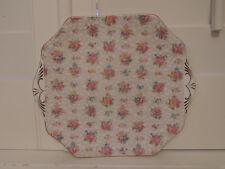 Vintage Hammersley Chintz Handled Cake Plate Pink Roses Bone China