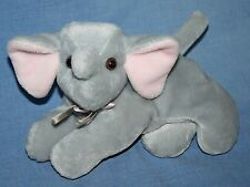 A&A Elephant Gray Pink Ear Plush Baby Bow Bean Bag Stuffed Animal Soft Toy 9""