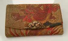 ANTIQUE JAPANESE POLYCHROME EMBOSSED LEATHER TOBACCO POUCH / PURSE  DRAGON LATCH