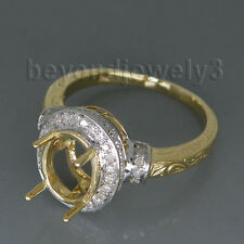 14kt Two Tone Gold Diamond Engagement Wedding Semi Mount Ring Oval 7x9mm