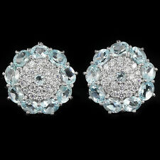 NATURAL SKY BLUE TOPAZ & White Cubic Zirconia .925 Sterling Silver EARRINGS