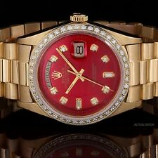 Rolex Yellow Gold Day-Date President with Red Diamond Dial & Bezel, Non Quickset