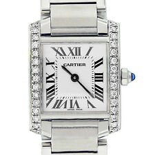 Cartier Tank Francaise Ladies Small Diamond Bezel Stainless Steel Watch W51008Q3
