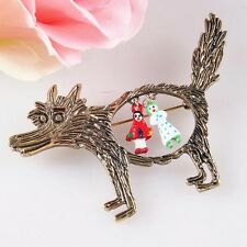 Mode bijoux broche Bronze Wolf Little Red Riding Hood Cartoon broches broches
