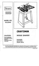 1975 Craftsman 113.23941  Wood Shaper Instructions