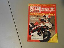 SEPTEMBER 1983 CYCLE GUIDE MAGAZINE,HONDA V-4 400,YAMAHA XJ900 SECA,WHITE BROS.