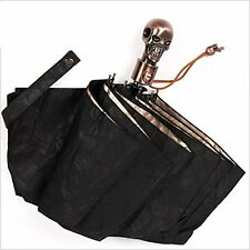 3-fold Automatic Fashion silver coated skull umbrella,Sun and Rain umbrella New