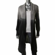 NWT$250 FLUXUS Black Grey Tweed Ombre Dip Dye Open Long Cardigan Sweatercoat XS