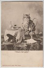 "POSTCARD - cats ""Where's the Waiter"" kitten on chair, pipe wine, Landor, Wrench"