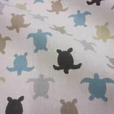 Stoff Meterware Baumwolle Schildkröte weiß beige taupe bleu Frankreich Turtle