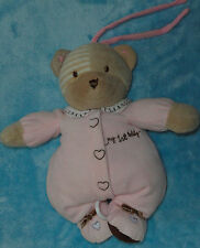 Carters Plush Musical My First Teddy Bear Crib Pull Baby Toy Pink Tan Stripe