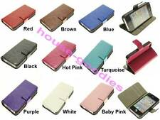 Wallet Case Cover Stand Genuine Leather for iPhone 4 4S, Holds Cash & Cards