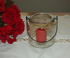 NEW w/tag PRIMITIVE FARM HOUSE KITCHEN GLASS JAR VOTIVE CANDLE HOLDER w/CANDLE