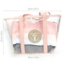 MARY KAY CLEAR BEACH BAG PINK WITH REMOVABLE POUCH