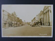 Ionia Michigan Street Scene Soda Bar Cafe Bank Real Photo Postcard RPPC 1950