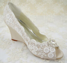 Handmade Champagne Lace Diamante Bridal Shoes Peep Toe Wedge Wedding Shoes UK3-8